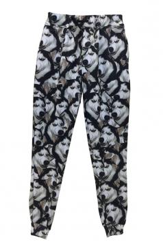 Black Ladies Husky Printed Cool Casual Sweatpants