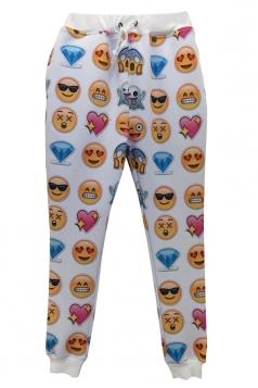 White Ladies Cute Emoji Printed Casual Jogger Sweatpants