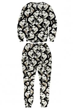 Black Womens Jumper Crew Neck Husky Printed Pant Sweatshirt Suit