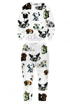 Ladies Crew Neck Jumper Animal Cat Printed Pant Sweatshirt Set