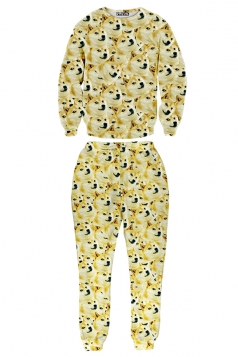Yellow Womens Crew Neck Jumper Doge Printed Pant Sweatshirt Suit