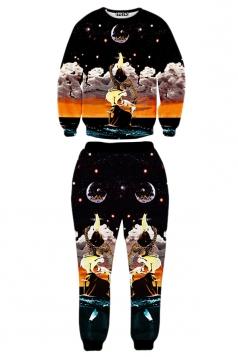 Black Ladies Animal Reaching The Moon Printed Pant Sweatshirt Set