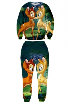 Green Womens Crew Neck Jumper Pant Bambi Printed Sweatshirt Set