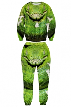 Green Womens Crew Neck Pullover Snake Printed Pant Sweatshirt Set