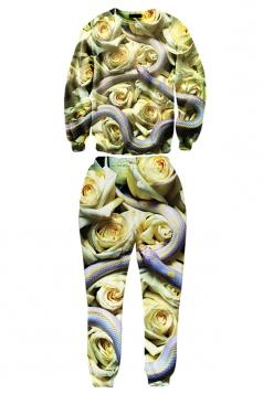 Ladies Crew Neck Jumper Snake Rose Printed Pant Sweatshirt Suit