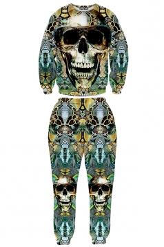 Green Ladies Jumper Skull Printed Pant Crew Neck Sweatshirt Suit