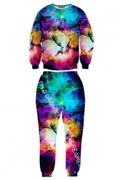 Blue Womens Jumper Crew Neck Pant Galaxy Printed Sweatshirt Suit