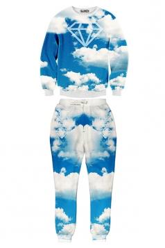 Ladies Crew Neck Jumper Pant Sky Cloud Printed Sweatshirt Set