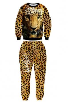 Yellow Ladies Pullover 3D Leopard Printed Pant Sweatshirt Suit