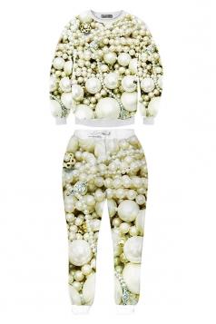 Beige Womens Crew Neck Jumper Pearl Printed Pant Sweatshirt Set