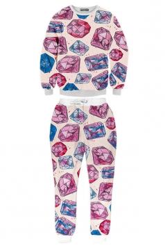 Pink Ladies Jumper Cartoon Diamond Printed Pant Sweatshirt Suit