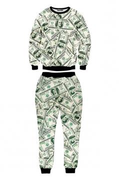 Green Womens Jumper Dollar Printed Pant Crew Neck Sweatshirt Set