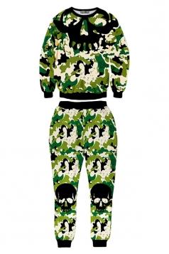 Womens Camo Skull Printed Crew Neck Pullover Pant Sweatshirt Set