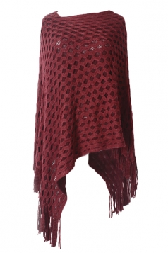 Ruby Womens Batwing Sleeve Fringe Poncho Plain Pullover Sweater