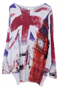 Gray Loose Ladies Union Flag Pattern Vintage Jumper Sweater