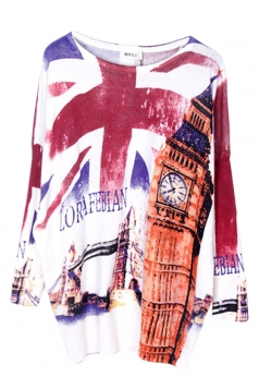 White Loose Ladies Union Flag Pattern Vintage Jumper Sweater