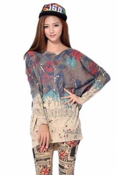 Beige Womens Cute Cartoon Pattern Chic Pullover Sweater
