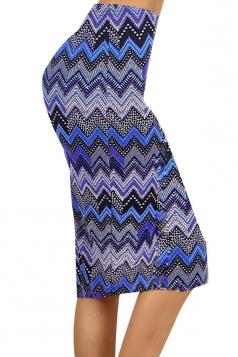 Blue Womens Sexy Wavy Printed Fashion Pencil Skirt