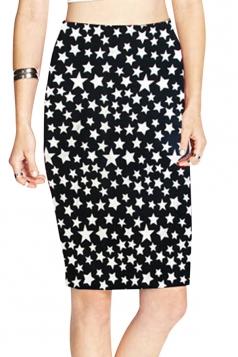 Black Stars Printed Ladies Slim Retro Pencil Skirt