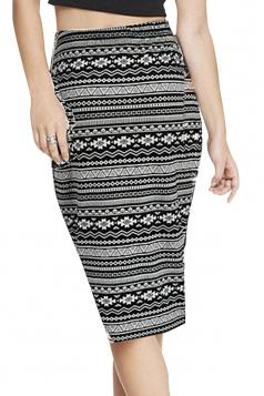 Gray Ladies Fashion Argyle Printed Casual Pencil Skirt