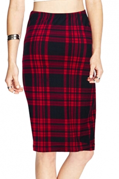 Red Charming Ladies Plaid Printed Pencil Skirt