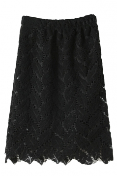 Black Pretty Womens Plain Lace Cut Out Midi Skirt