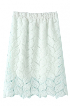 White Pretty Womens Plain Lace Cut Out Midi Skirt