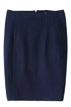 Navy Blue Cool Ladies Plain Pencil Denim Skirt