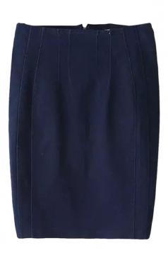 Navy Blue Cool Ladies Plain Pencil Denim Skirt