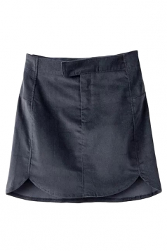 Black Fashion Womens Plain Corduroy Fit Mini Skirt