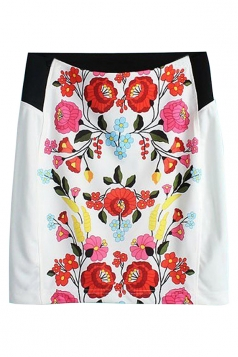 White Vintage Womens Flower Printed Pencil Midi Skirt