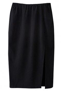 Black Elegant Ladies Plain Split Midi Pencil Skirt