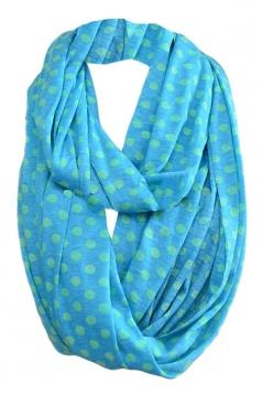 Blue Pretty Womens Single Jersey Dot Circular Scarf