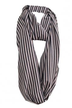Coffee Pretty Ladies Circular Scarf Single Jersey Striped Scarf