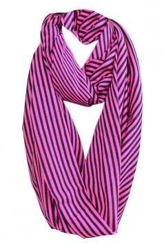 Purple Pretty Ladies Circular Scarf Single Jersey Striped Scarf