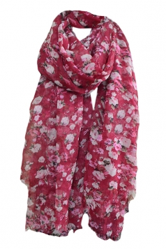 Rose Red Pretty Womens Voile Warm Floral Scarf