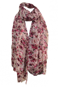 Pink Pretty Womens Voile Warm Floral Scarf