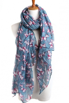 Blue Cut Ladies Voile Dog Animal Print Scarf