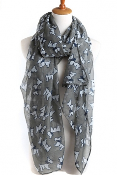 Gray Cut Ladies Voile Dog Animal Print Scarf