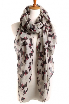 Khaki Cut Ladies Voile Dog Animal Print Scarf