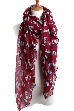 Ruby Cut Ladies Voile Dog Animal Print Scarf