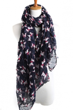 Navy Blue Cut Ladies Voile Dog Animal Print Scarf