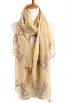 Beige Stylish Womens Cat Kitten Voile Animal Print Scarf