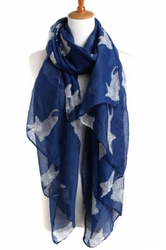 Navy Blue Stylish Womens Cat Kitten Voile Animal Print Scarf