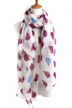 Beige Cool Ladies Hedgehog Voile Animal Print Scarf