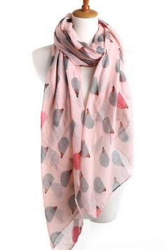 Pink Cool Ladies Hedgehog Voile Animal Print Scarf