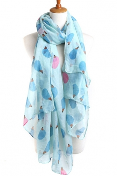 Turquoise Cool Ladies Hedgehog Voile Animal Print Scarf
