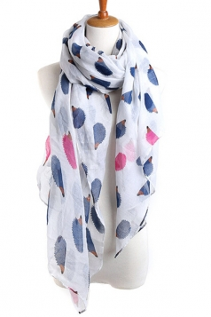 White Cool Ladies Hedgehog Voile Animal Print Scarf