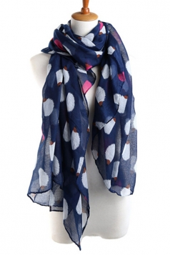 Navy Blue Cool Ladies Hedgehog Voile Animal Print Scarf