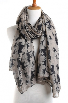 Gray Modern Womens Horse Pony Voile Animal Print Scarf
